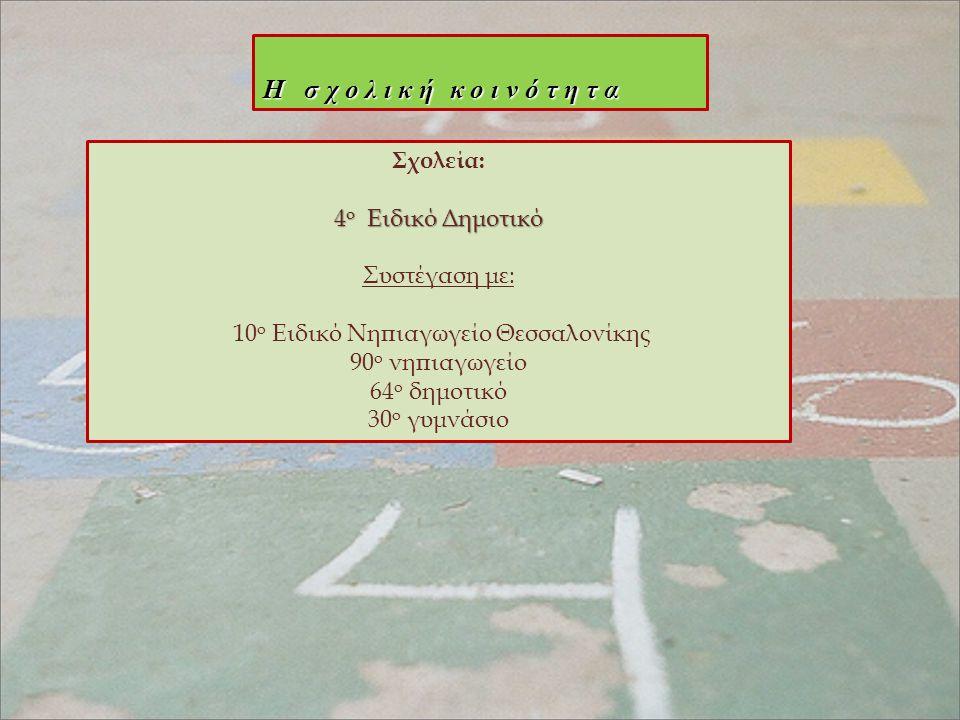 Η σχολική κοινότητα Σχολεία: 4 o Ειδικό Δημοτικό Συστέγαση με: 10 ο Ειδικό Νηπιαγωγείο Θεσσαλονίκης 90 ο νηπιαγωγείο 64 ο δημοτικό 30 ο γυμνάσιο