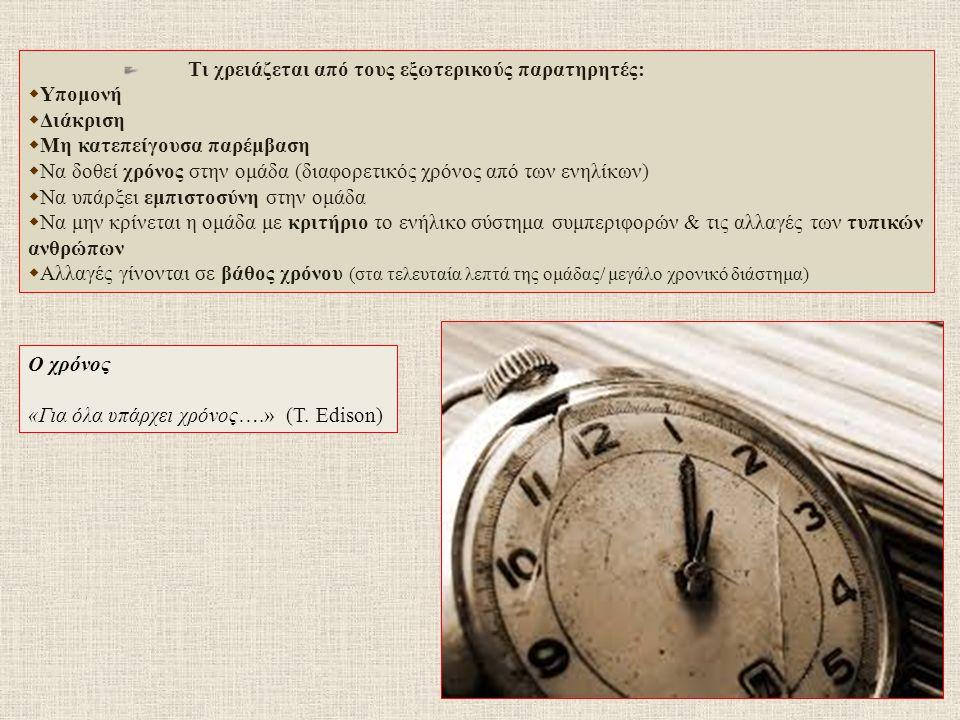Τι χρειάζεται από τους εξωτερικούς παρατηρητές:  Υπομονή  Διάκριση  Μη κατεπείγουσα παρέμβαση  Να δοθεί χρόνος στην ομάδα (διαφορετικός χρόνος από