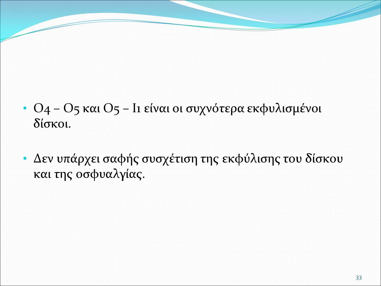 Ο4 – Ο5 και Ο5 – Ι1 είναι οι συχνότερα εκφυλισμένοι δίσκοι. Δεν υπάρχει σαφής συσχέτιση της εκφύλισης του δίσκου και της οσφυαλγίας. 33