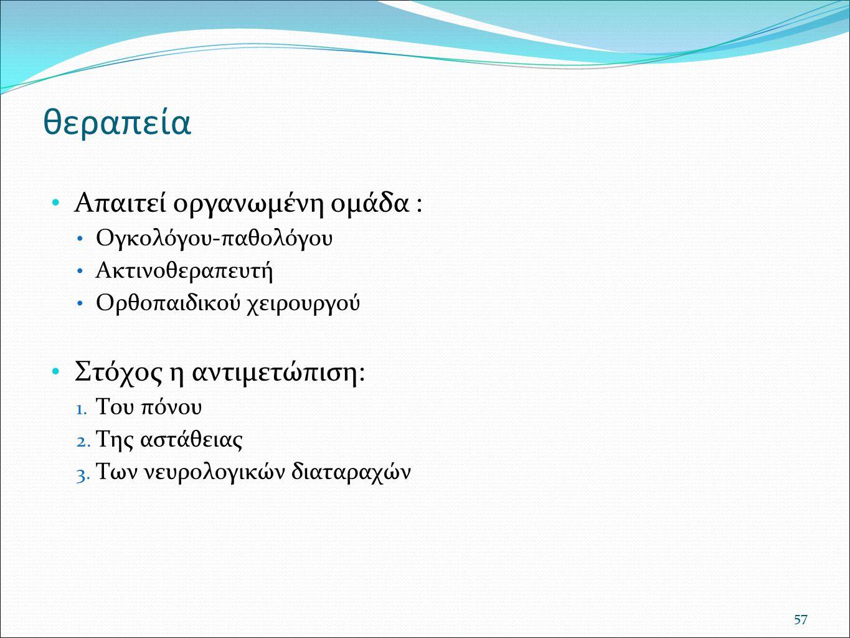 Απαιτεί οργανωμένη ομάδα : Ογκολόγου-παθολόγου Ακτινοθεραπευτή Ορθοπαιδικού χειρουργού Στόχος η αντιμετώπιση: 1. Του πόνου 2. Της αστάθειας 3. Των νευ