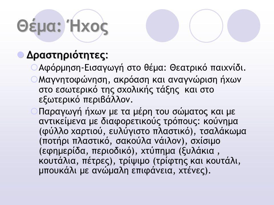 Θέμα: Ήχος Δραστηριότητες: Δραστηριότητες:  Αφόρμηση-Εισαγωγή στο θέμα: Θεατρικό παιχνίδι.