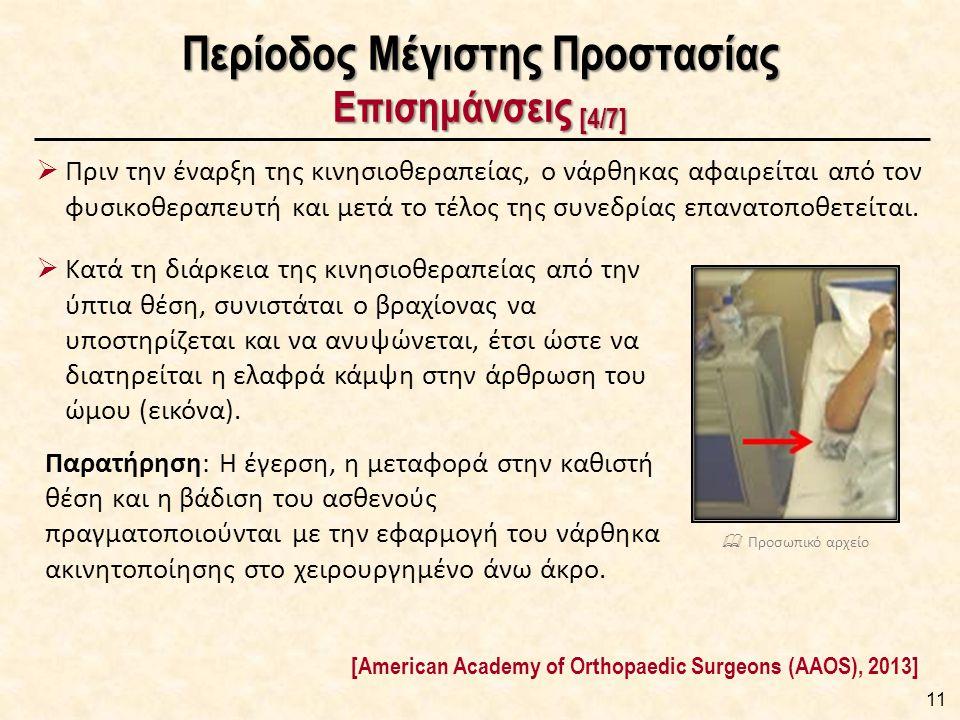 Περίοδος Μέγιστης Προστασίας Επισημάνσεις [4/7] 11 [American Academy of Orthopaedic Surgeons (AAOS), 2013]  Πριν την έναρξη της κινησιοθεραπείας, ο ν