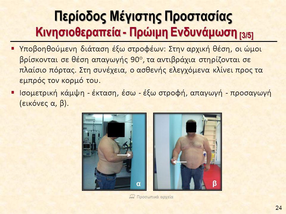 Περίοδος Μέγιστης Προστασίας Κινησιοθεραπεία - Πρώιμη Ενδυνάμωση [3/5]  Υποβοηθούμενη διάταση έξω στροφέων: Στην αρχική θέση, οι ώμοι βρίσκονται σε θ
