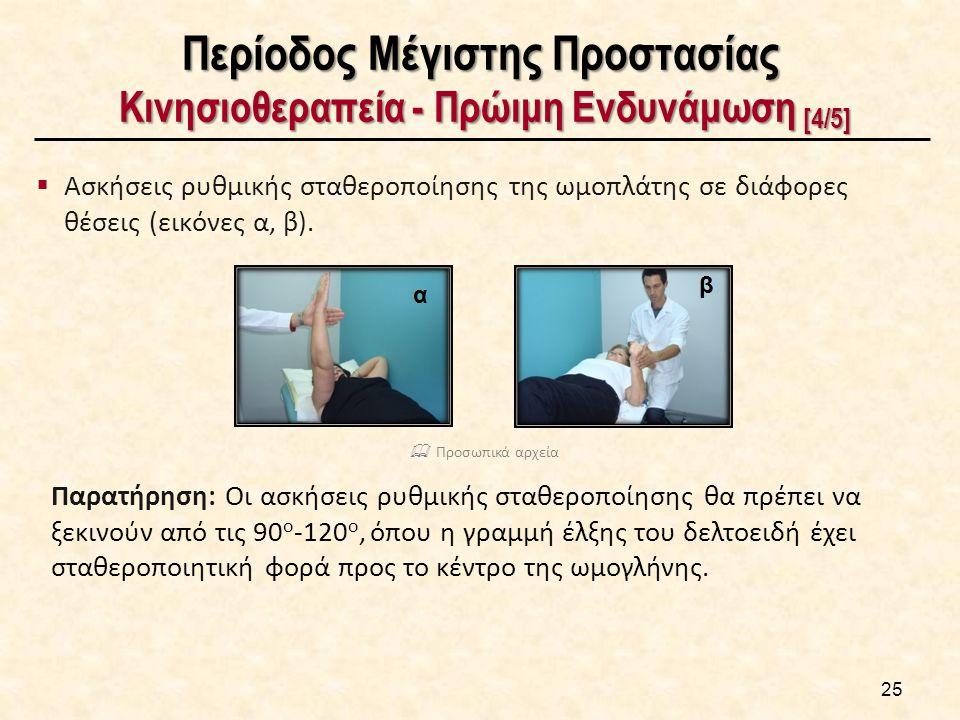 Περίοδος Μέγιστης Προστασίας Κινησιοθεραπεία - Πρώιμη Ενδυνάμωση [4/5]  Ασκήσεις ρυθμικής σταθεροποίησης της ωμοπλάτης σε διάφορες θέσεις (εικόνες α,