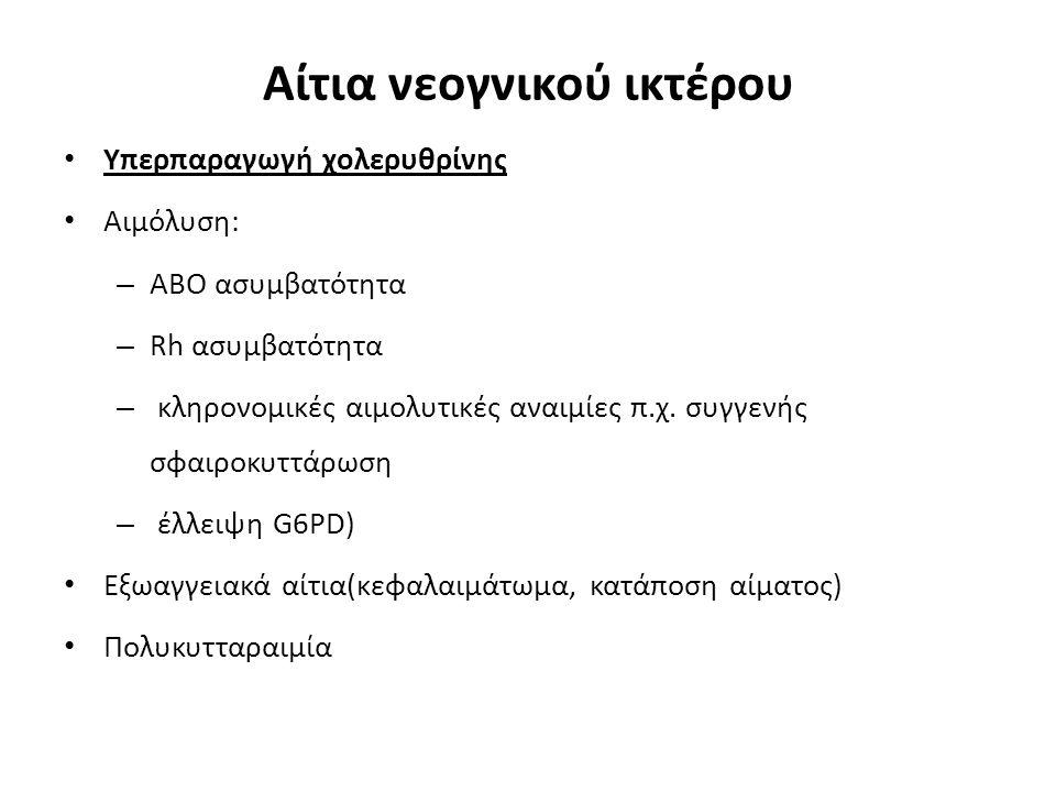 Ελαττωμένη απέκκριση Ελαττωμένη πρόσληψη χολερυθρίνης από το ήπαρ Ελαττωμένη σύνδεση χολερυθρίνης Ελαττωμένη μεταφορά συνδεδεμένης χολερυθρίνης εκτός ηπατοκυττάρου(γαλακτοζαιμία,τυροσιναιμία,απόφραξη χοληφόρων)