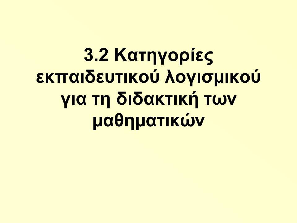 3.2 Κατηγορίες εκπαιδευτικού λογισµικού για τη διδακτική των µαθηµατικών