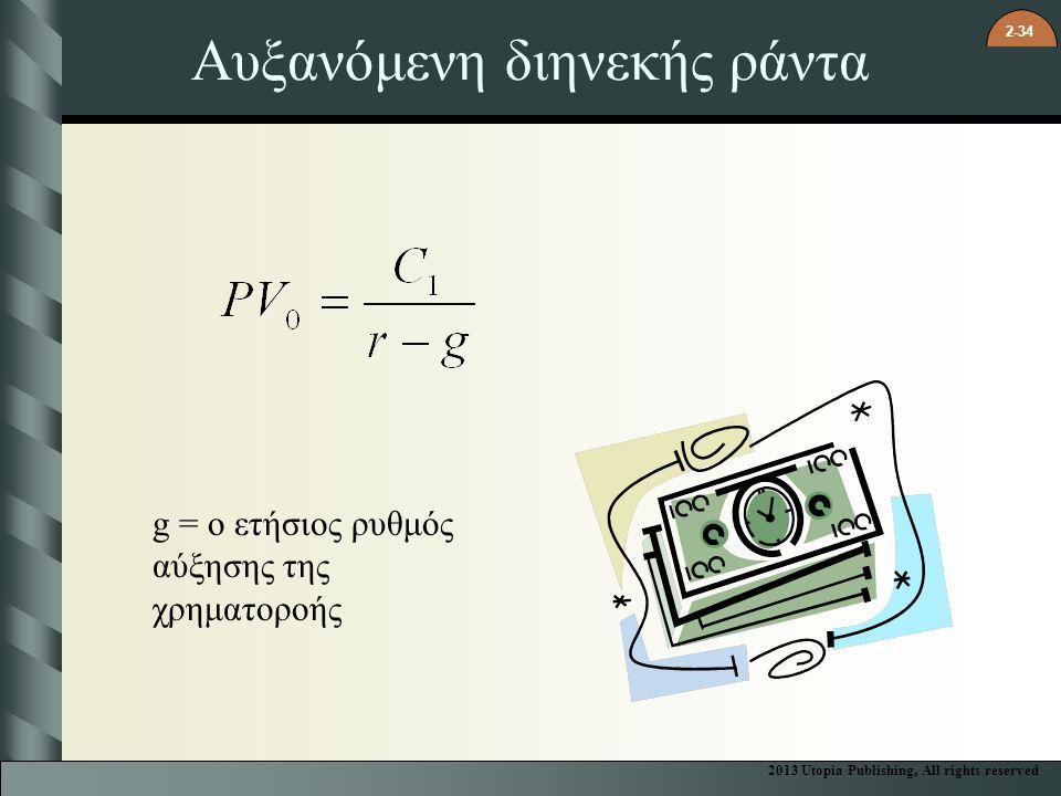 2-34 Αυξανόμενη διηνεκής ράντα g = ο ετήσιος ρυθμός αύξησης της χρηματοροής 2013 Utopia Publishing, All rights reserved