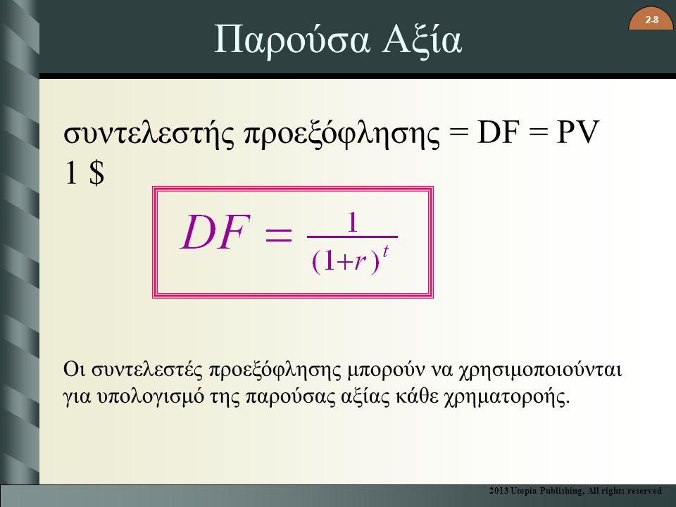2-8 Παρούσα Αξία συντελεστής προεξόφλησης = DF = PV 1 $ Οι συντελεστές προεξόφλησης μπορούν να χρησιμοποιούνται για υπολογισμό της παρούσας αξίας κάθε χρηματοροής.