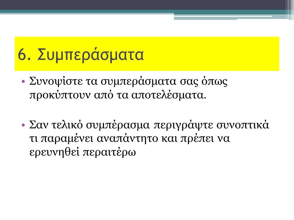 6. Συμπεράσματα Συνοψίστε τα συμπεράσματα σας όπως προκύπτουν από τα αποτελέσματα. Σαν τελικό συμπέρασμα περιγράψτε συνοπτικά τι παραμένει αναπάντητο
