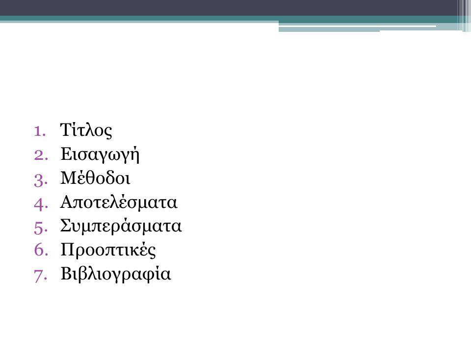 1.Τίτλος 2.Εισαγωγή 3.Μέθοδοι 4.Αποτελέσματα 5.Συμπεράσματα 6.Προοπτικές 7.Βιβλιογραφία