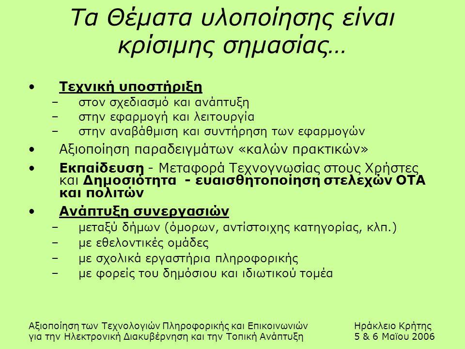 Αξιοποίηση των Τεχνολογιών Πληροφορικής και ΕπικοινωνιώνΗράκλειο Κρήτης για την Ηλεκτρονική Διακυβέρνηση και την Τοπική Ανάπτυξη5 & 6 Μαϊου 2006 Τα Θέ