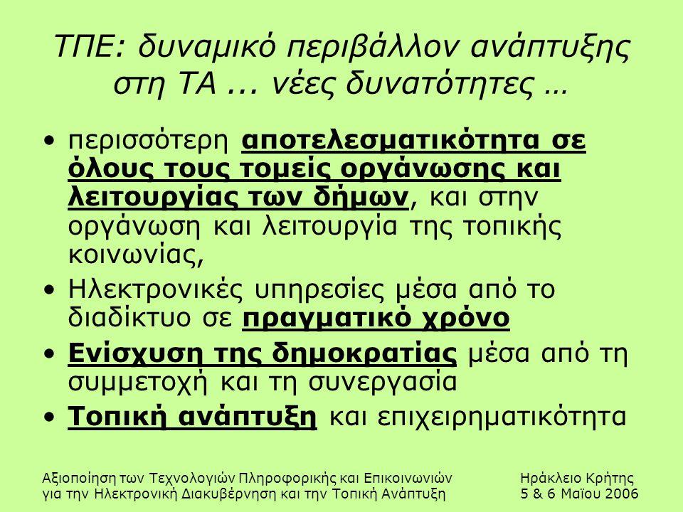 Αξιοποίηση των Τεχνολογιών Πληροφορικής και ΕπικοινωνιώνΗράκλειο Κρήτης για την Ηλεκτρονική Διακυβέρνηση και την Τοπική Ανάπτυξη5 & 6 Μαϊου 2006 ΤΠΕ: δυναμικό περιβάλλον ανάπτυξης στη ΤΑ...