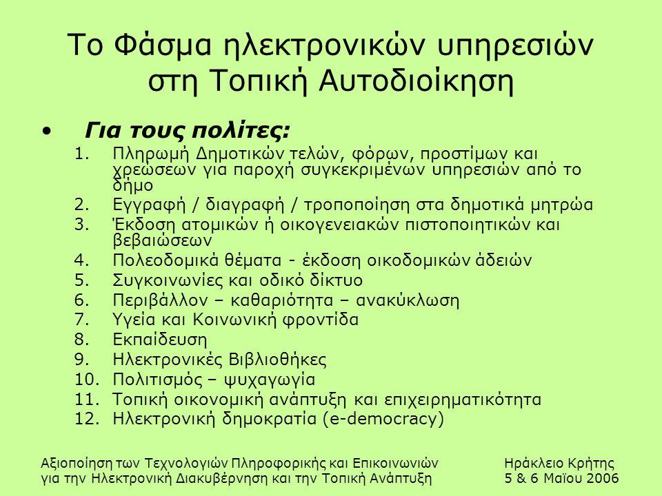 Αξιοποίηση των Τεχνολογιών Πληροφορικής και ΕπικοινωνιώνΗράκλειο Κρήτης για την Ηλεκτρονική Διακυβέρνηση και την Τοπική Ανάπτυξη5 & 6 Μαϊου 2006 Το Φάσμα ηλεκτρονικών υπηρεσιών στη Τοπική Αυτοδιοίκηση Για τους πολίτες: 1.Πληρωμή Δημοτικών τελών, φόρων, προστίμων και χρεώσεων για παροχή συγκεκριμένων υπηρεσιών από το δήμο 2.Εγγραφή / διαγραφή / τροποποίηση στα δημοτικά μητρώα 3.Έκδοση ατομικών ή οικογενειακών πιστοποιητικών και βεβαιώσεων 4.Πολεοδομικά θέματα - έκδοση οικοδομικών άδειών 5.Συγκοινωνίες και οδικό δίκτυο 6.Περιβάλλον – καθαριότητα – ανακύκλωση 7.Υγεία και Κοινωνική φροντίδα 8.Εκπαίδευση 9.Ηλεκτρονικές Βιβλιοθήκες 10.Πολιτισμός – ψυχαγωγία 11.Τοπική οικονομική ανάπτυξη και επιχειρηματικότητα 12.Ηλεκτρονική δημοκρατία (e-democracy)