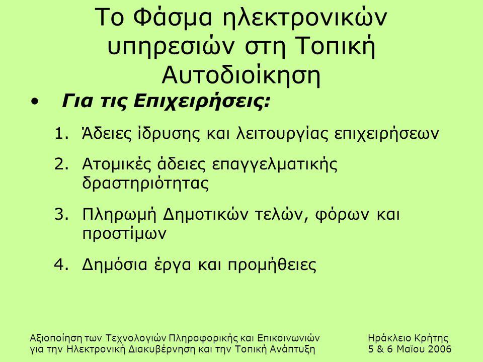 Αξιοποίηση των Τεχνολογιών Πληροφορικής και ΕπικοινωνιώνΗράκλειο Κρήτης για την Ηλεκτρονική Διακυβέρνηση και την Τοπική Ανάπτυξη5 & 6 Μαϊου 2006 Το Φάσμα ηλεκτρονικών υπηρεσιών στη Τοπική Αυτοδιοίκηση Για τις Επιχειρήσεις: 1.Άδειες ίδρυσης και λειτουργίας επιχειρήσεων 2.Ατομικές άδειες επαγγελματικής δραστηριότητας 3.Πληρωμή Δημοτικών τελών, φόρων και προστίμων 4.Δημόσια έργα και προμήθειες