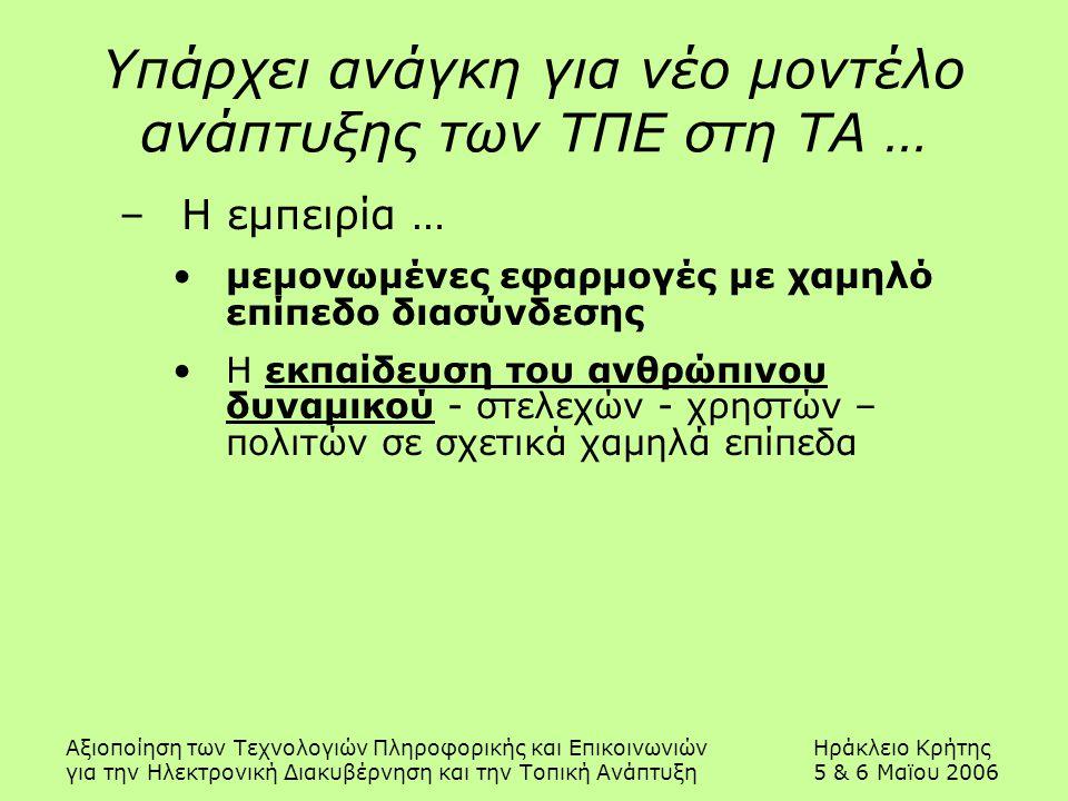 Αξιοποίηση των Τεχνολογιών Πληροφορικής και ΕπικοινωνιώνΗράκλειο Κρήτης για την Ηλεκτρονική Διακυβέρνηση και την Τοπική Ανάπτυξη5 & 6 Μαϊου 2006 Υπάρχει ανάγκη για νέο μοντέλο ανάπτυξης των ΤΠΕ στη ΤΑ … –Η εμπειρία … μεμονωμένες εφαρμογές με χαμηλό επίπεδο διασύνδεσης Η εκπαίδευση του ανθρώπινου δυναμικού - στελεχών - χρηστών – πολιτών σε σχετικά χαμηλά επίπεδα