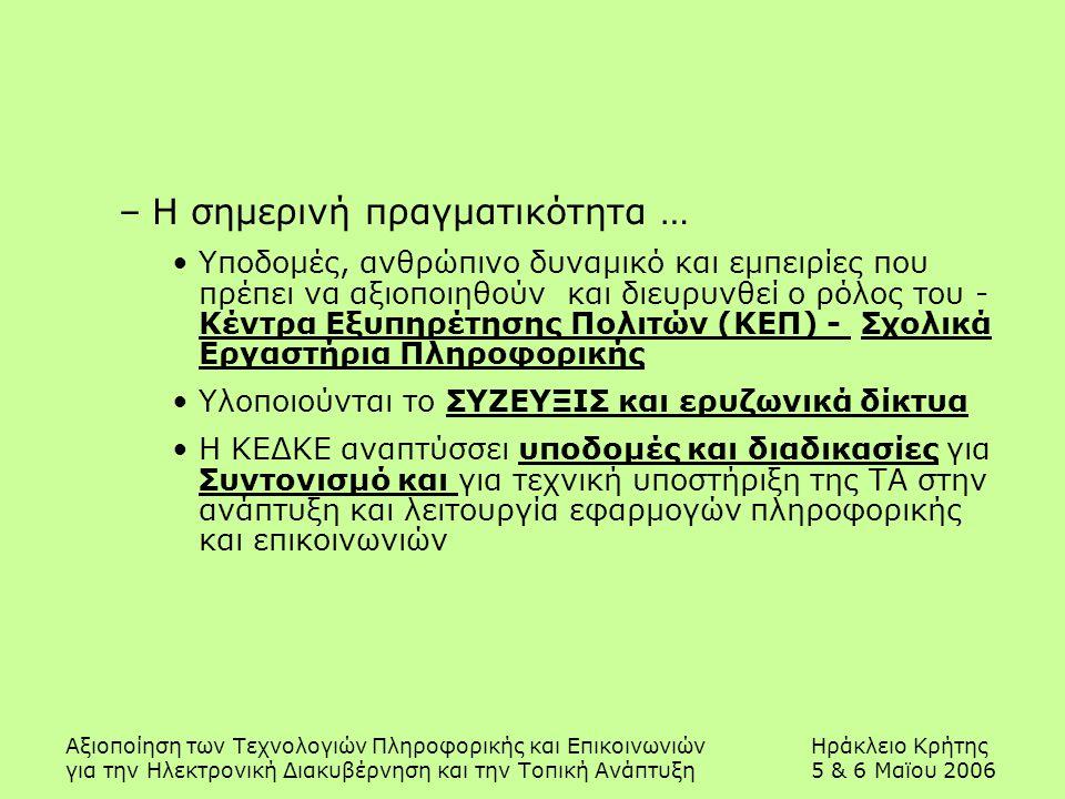 Αξιοποίηση των Τεχνολογιών Πληροφορικής και ΕπικοινωνιώνΗράκλειο Κρήτης για την Ηλεκτρονική Διακυβέρνηση και την Τοπική Ανάπτυξη5 & 6 Μαϊου 2006 –Η ση