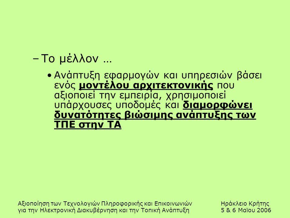 Αξιοποίηση των Τεχνολογιών Πληροφορικής και ΕπικοινωνιώνΗράκλειο Κρήτης για την Ηλεκτρονική Διακυβέρνηση και την Τοπική Ανάπτυξη5 & 6 Μαϊου 2006 –Το μ