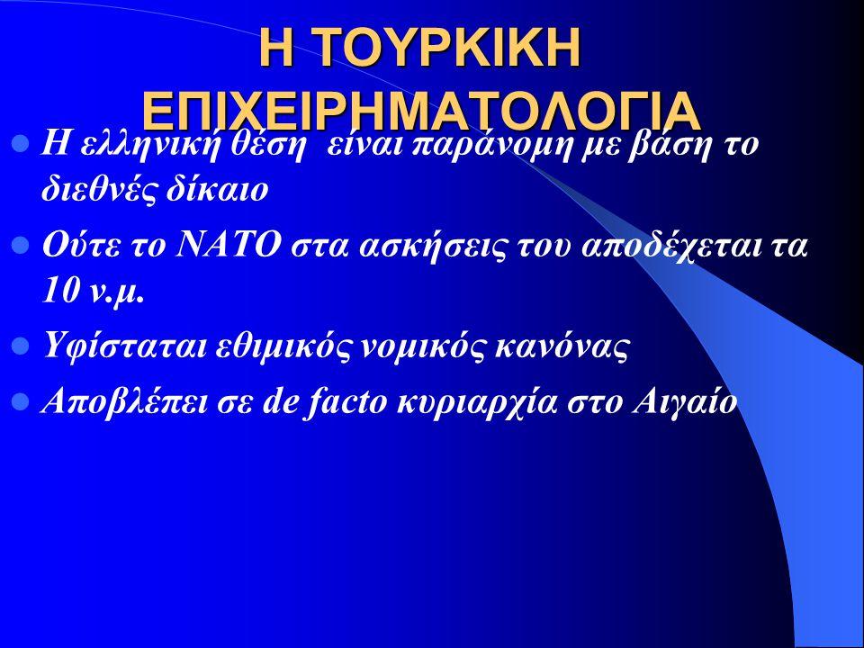 Η ΔΙΑΦΟΡΑ ΓΙΑ ΤΟΝ ΕΝΑΕΡΙΟ ΧΩΡΟ 1931 Προεδρικό διάταγμα που ορίζει τα 10 ναυτικά μίλα αιγιαλίτιδα ζώνη. Ενώ το 1936 καθιερώνονται το 6 νμ αιγιαλίτιδα χ