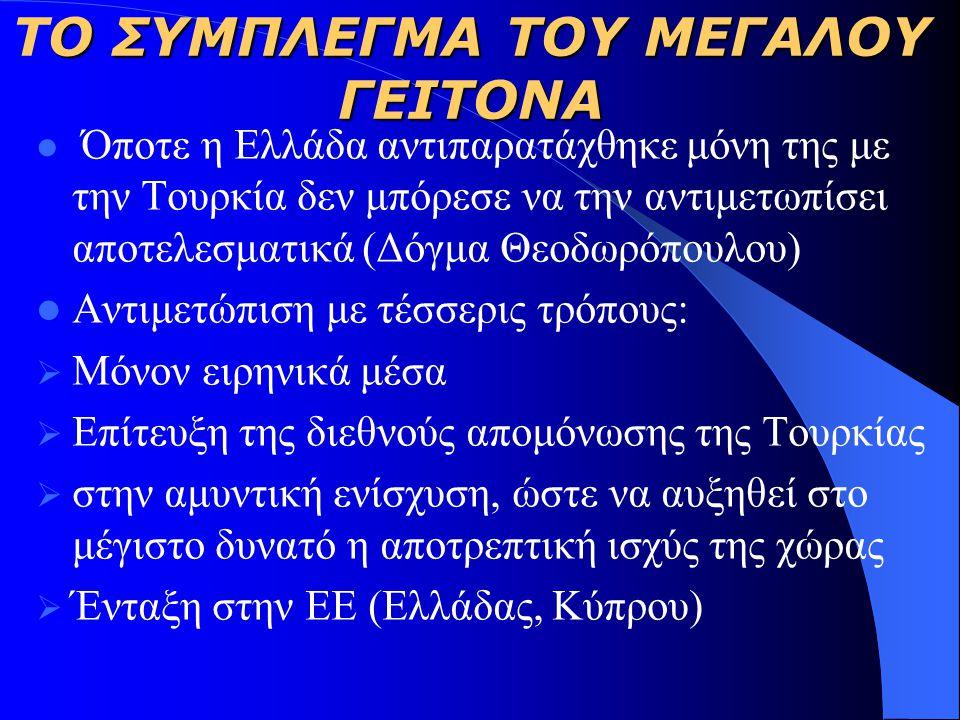 Ο ΣΥΜΠΛΕΓΜΑ ΤΟΥ ΜΕΓΑΛΟΥ ΓΕΙΤΟΝΑ TΟ ΣΥΜΠΛΕΓΜΑ ΤΟΥ ΜΕΓΑΛΟΥ ΓΕΙΤΟΝΑ Όποτε η Ελλάδα αντιπαρατάχθηκε μόνη της με την Τουρκία δεν μπόρεσε να την αντιμετωπίσει αποτελεσματικά (Δόγμα Θεοδωρόπουλου) Αντιμετώπιση με τέσσερις τρόπους:  Μόνον ειρηνικά μέσα  Επίτευξη της διεθνούς απομόνωσης της Τουρκίας  στην αμυντική ενίσχυση, ώστε να αυξηθεί στο μέγιστο δυνατό η αποτρεπτική ισχύς της χώρας  Ένταξη στην ΕΕ (Ελλάδας, Κύπρου)