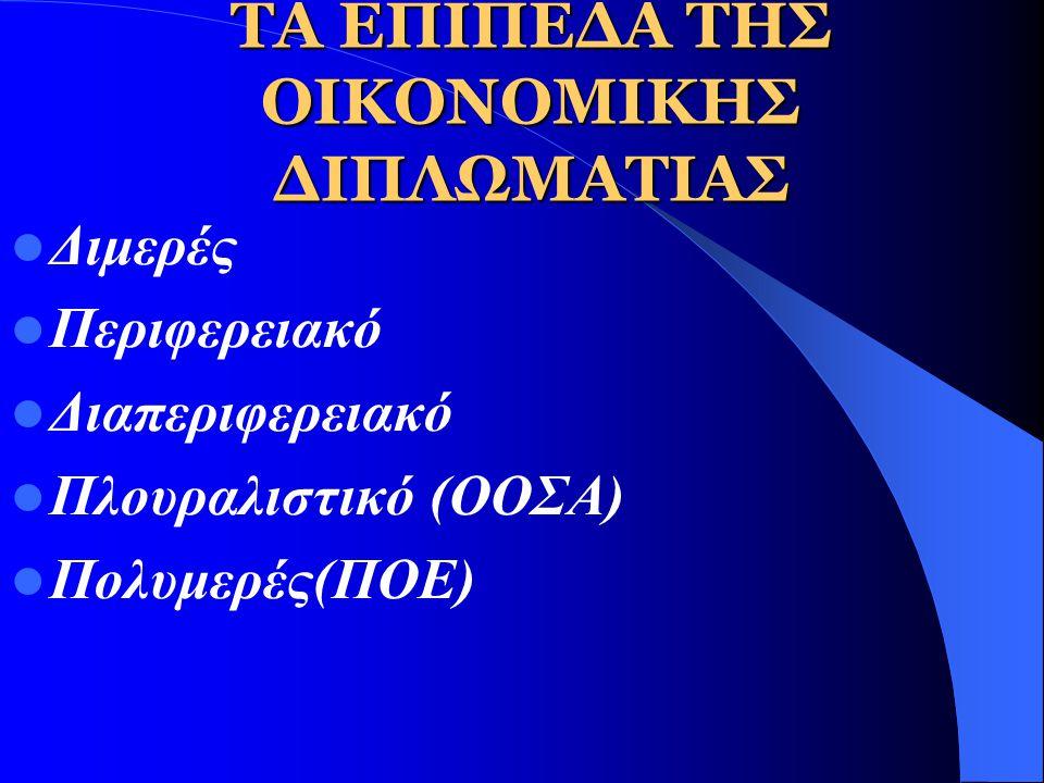 ΤΑ ΤΡΙΑ ΖΕΥΓΗ Η σχέση ανάμεσα στη πολιτική και στην οικονομία (μέθοδοι και στόχοι) Η σχέση ανάμεσα στα διεθνή και τα εσωτερικά αιτήματα(διαμόρφωση απο