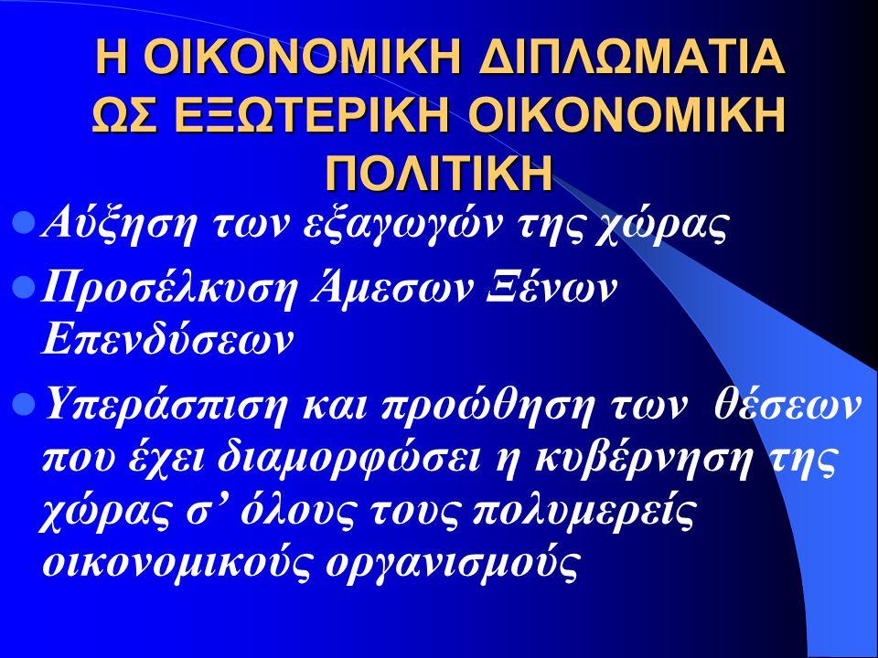 ΠΕΔΙΑ ΟΙΚΟΝΟΜΙΚΗΣ ΔΙΠΛΩΜΑΤΙΑΣ Μηχανισμός της εξωτερικής οικονομικής πολιτικής (foreign economic policy) Μηχανισμός της αναπτυξιακής πολιτικής (Develop