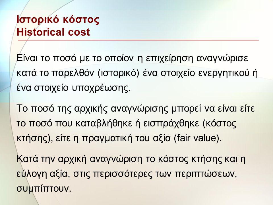 Ιστορικό κόστος Historical cost Είναι το ποσό με το οποίον η επιχείρηση αναγνώρισε κατά το παρελθόν (ιστορικό) ένα στοιχείο ενεργητικού ή ένα στοιχείο