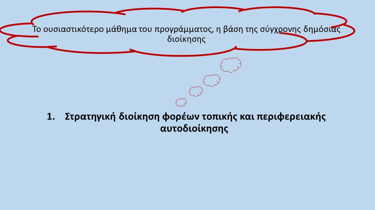Μαθησιακά αποτελέσματα: Η ενημέρωση των φοιτητών ως προς τις ιδιαίτερες απαιτήσεις εφαρμογής του στρατηγικού προγραμματισμού στο περιβάλλον της Ελληνικής τοπικής αυτοδιοίκησης Η ανάπτυξη πρακτικών δεξιοτήτων ανάλυσης των αναγκών και των απαιτήσεων ανάπτυξης του στρατηγικού προγραμματισμού στους φορείς της τοπικής αυτοδιοίκησης Η απόκτηση εξειδικευμένων δεξιοτήτων λήψης αποφάσεων στο πλαίσιο του στρατηγικού προγραμματισμού Η γνώση και εφαρμογή των σύγχρονων και καινοτόμων εργαλείων στρατηγικού προγραμματισμού στην τοπική αυτοδιοίκηση