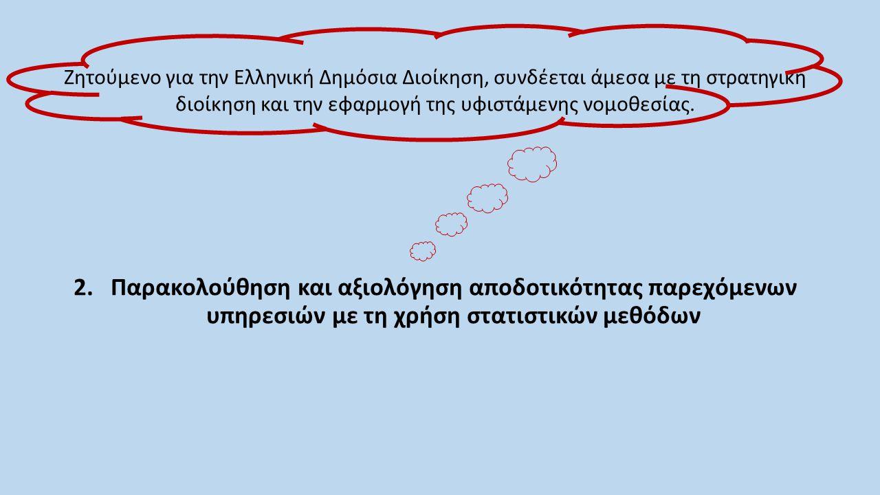 Ζητούμενο για την Ελληνική Δημόσια Διοίκηση, συνδέεται άμεσα με τη στρατηγική διοίκηση και την εφαρμογή της υφιστάμενης νομοθεσίας. 2.Παρακολούθηση κα