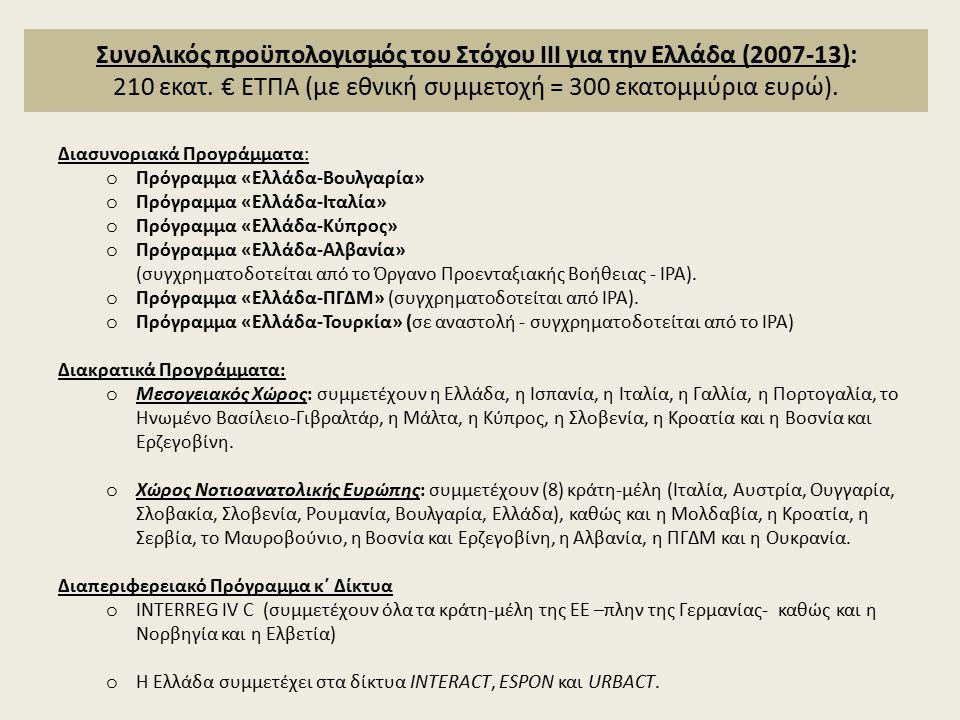 Συνολικός προϋπολογισμός του Στόχου ΙΙΙ για την Ελλάδα (2007-13): 210 εκατ.
