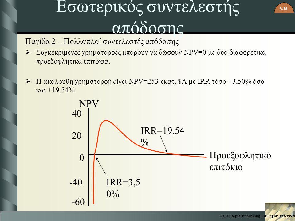 5-14 Εσωτερικός συντελεστής απόδοσης Παγίδα 2 – Πολλαπλοί συντελεστές απόδοσης  Συγκεκριμένες χρηματοροές μπορούν να δώσουν NPV=0 με δύο διαφορετικά