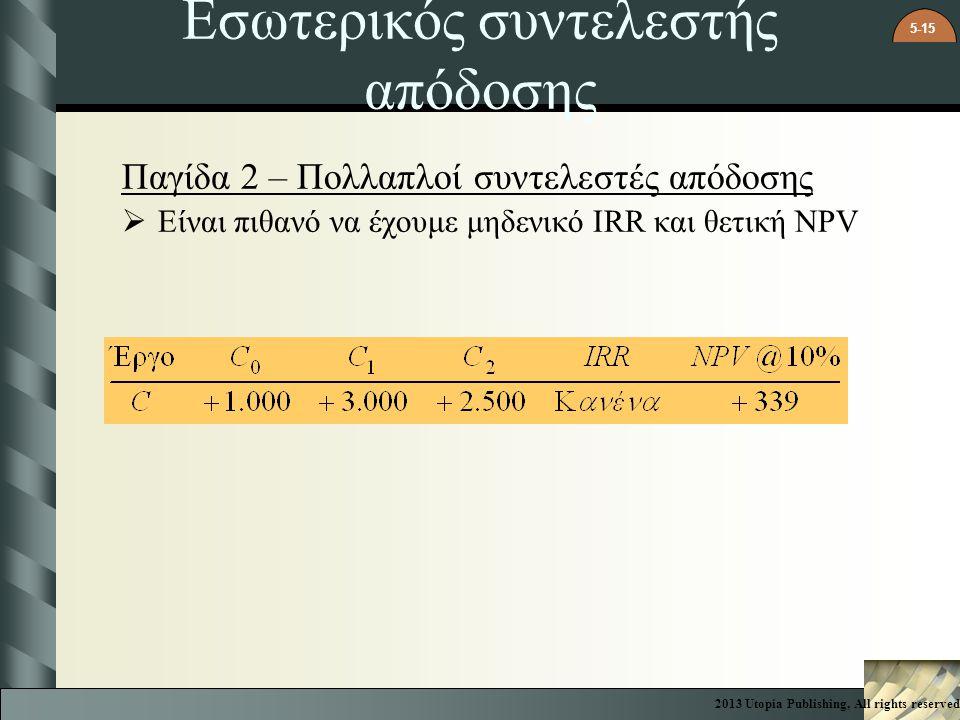 5-15 Εσωτερικός συντελεστής απόδοσης Παγίδα 2 – Πολλαπλοί συντελεστές απόδοσης  Είναι πιθανό να έχουμε μηδενικό IRR και θετική NPV 2013 Utopia Publis