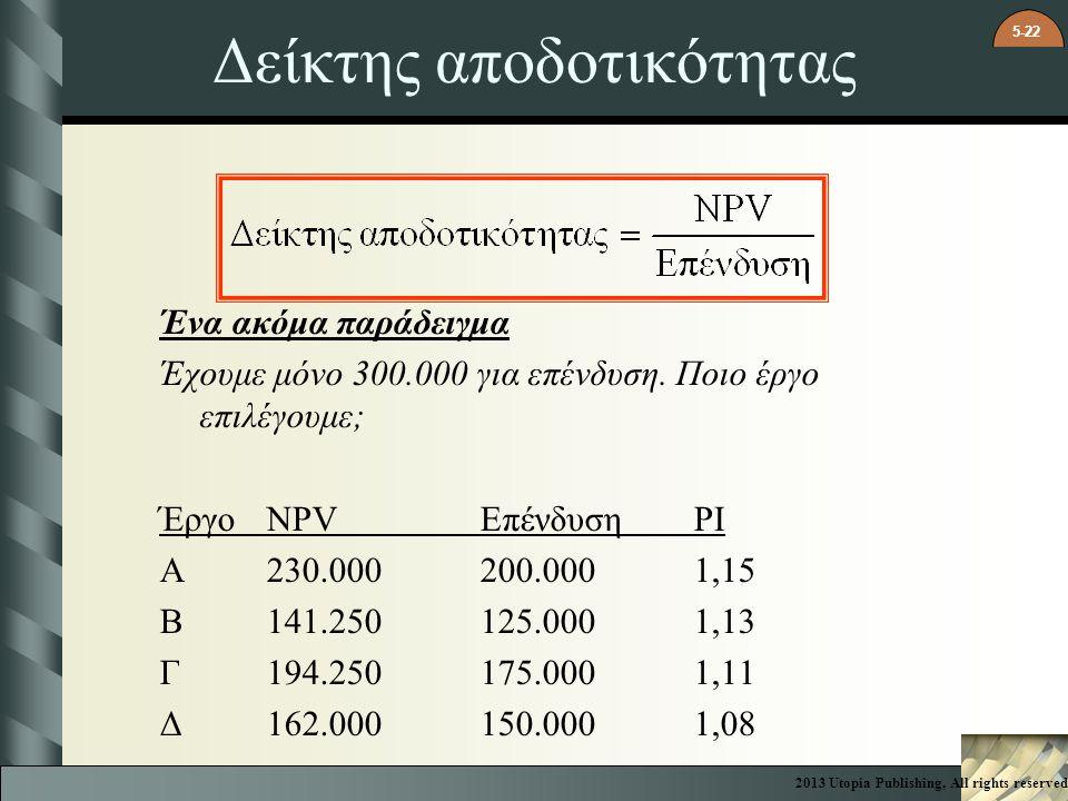5-22 Δείκτης αποδοτικότητας Ένα ακόμα παράδειγμα Έχουμε μόνο 300.000 για επένδυση. Ποιο έργο επιλέγουμε; ΈργοNPV ΕπένδυσηPI A230.000200.0001,15 B141.2