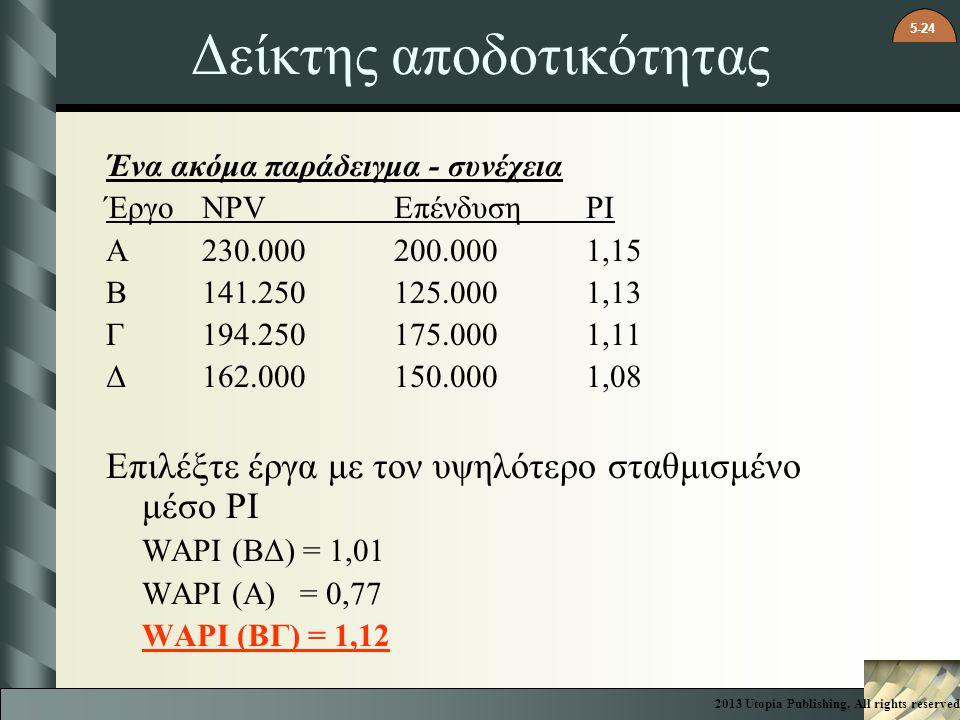 5-24 Δείκτης αποδοτικότητας Ένα ακόμα παράδειγμα - συνέχεια ΈργοNPV ΕπένδυσηPI A230.000200.0001,15 B141.250125.0001,13 Γ194.250175.0001,11 Δ162.000150