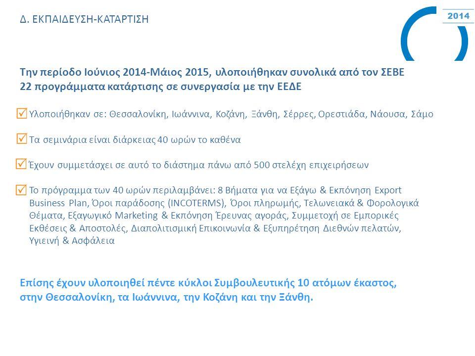 Δ. ΕΚΠΑΙΔΕΥΣΗ-ΚΑΤΑΡΤΙΣΗ Την περίοδο Ιούνιος 2014-Μάιος 2015, υλοποιήθηκαν συνολικά από τον ΣΕΒΕ 22 προγράμματα κατάρτισης σε συνεργασία με την ΕΕΔΕ Υλ