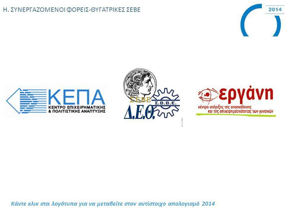 Η. ΣΥΝΕΡΓΑΖΟΜΕΝΟΙ ΦΟΡΕΙΣ-ΘΥΓΑΤΡΙΚΕΣ ΣΕΒΕ Κάντε κλικ στα λογότυπα για να μεταβείτε στον αντίστοιχο απολογισμό 2014