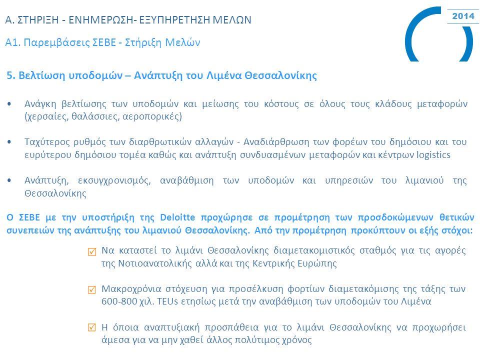 Α. ΣΤΗΡΙΞΗ - ΕΝΗΜΕΡΩΣΗ- ΕΞΥΠΗΡΕΤΗΣΗ ΜΕΛΩΝ Α1. Παρεμβάσεις ΣΕBΕ - Στήριξη Μελών 5. Βελτίωση υποδομών – Ανάπτυξη του Λιμένα Θεσσαλονίκης Ανάγκη βελτίωση