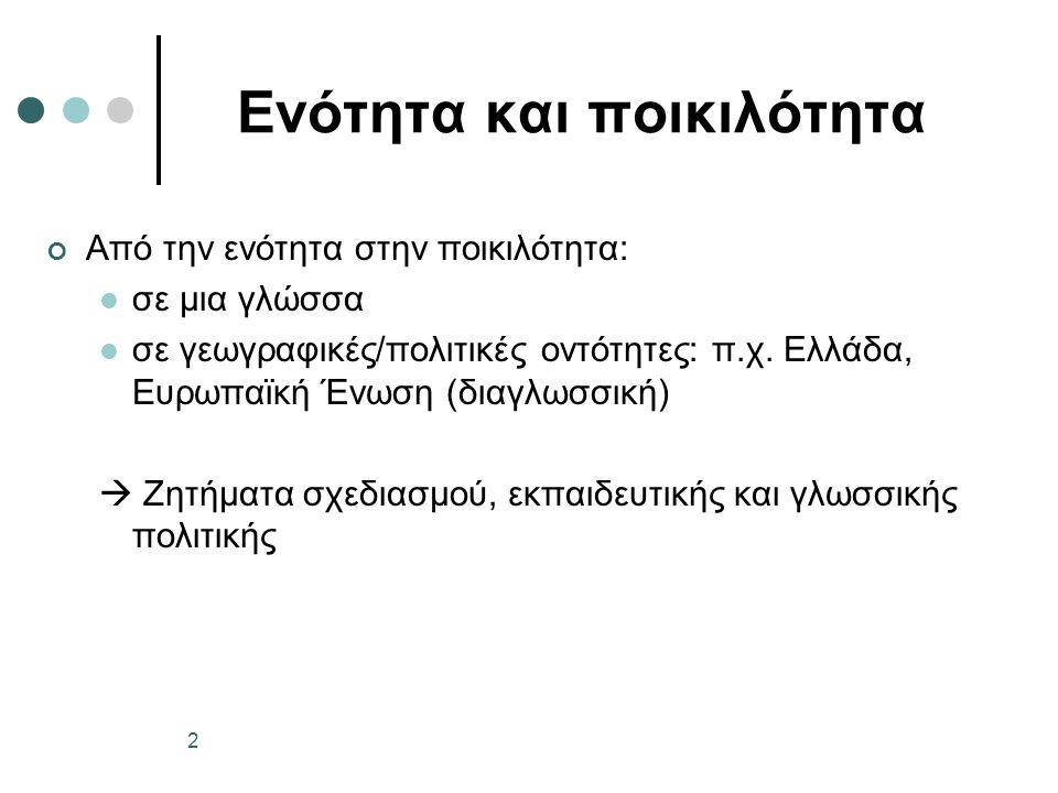 Ενότητα και ποικιλότητα Από την ενότητα στην ποικιλότητα: σε μια γλώσσα σε γεωγραφικές/πολιτικές οντότητες: π.χ. Ελλάδα, Ευρωπαϊκή Ένωση (διαγλωσσική)