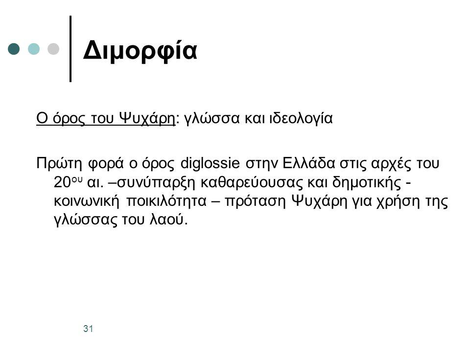 Διμορφία O όρος του Ψυχάρη: γλώσσα και ιδεολογία Πρώτη φορά ο όρος diglossie στην Ελλάδα στις αρχές του 20 ου αι. –συνύπαρξη καθαρεύουσας και δημοτική