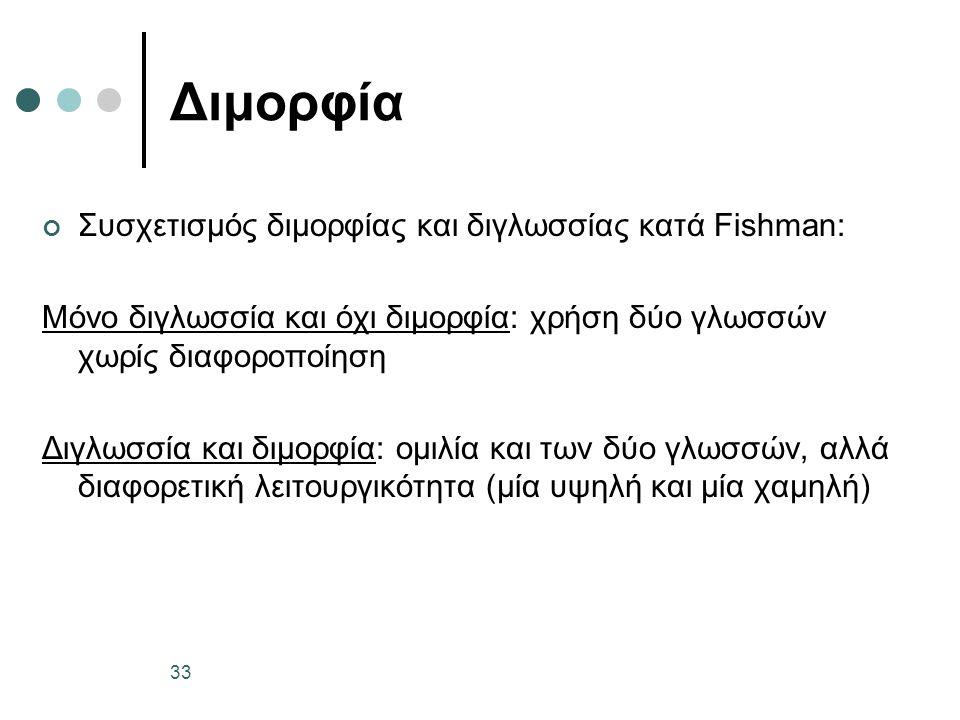 Διμορφία Συσχετισμός διμορφίας και διγλωσσίας κατά Fishman: Μόνο διγλωσσία και όχι διμορφία: χρήση δύο γλωσσών χωρίς διαφοροποίηση Διγλωσσία και διμορφία: ομιλία και των δύο γλωσσών, αλλά διαφορετική λειτουργικότητα (μία υψηλή και μία χαμηλή) 33
