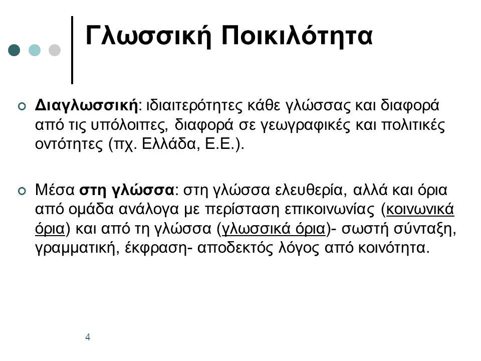 Η ελληνική διμορφία – Απομεινάρια της καθαρεύουσας; Φωνολογία: ποιητής, εχθρός, παύση, ρεύμα Μορφολογία: δευτερόκλιτα θηλυκά σε -ος (η οδός, η μέθοδος), τριτόκλιτα ουδέτερα σε -ον/-οντος, -εν/-εντος κ.ά.