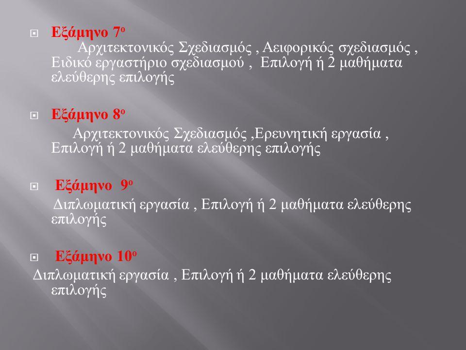  Εξάμηνο 7 ο Αρχιτεκτονικός Σχεδιασμός, Αειφορικός σχεδιασμός, Ειδικό εργαστήριο σχεδιασμού, Επιλογή ή 2 μαθήματα ελεύθερης επιλογής  Εξάμηνο 8 ο Αρ
