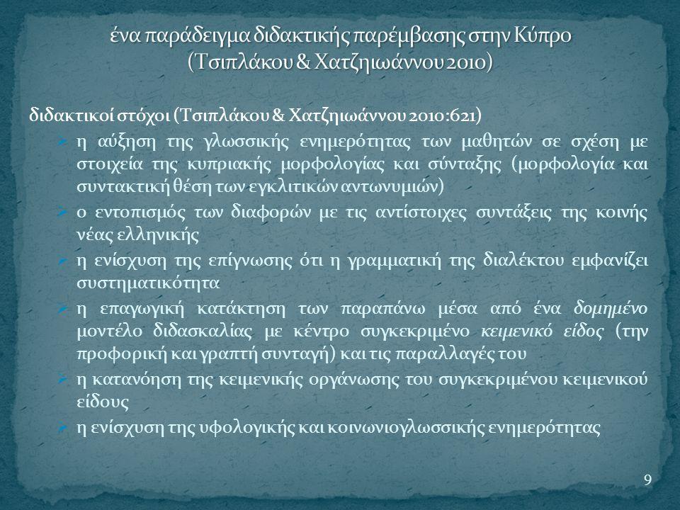διδακτικοί στόχοι (Τσιπλάκου & Χατζηιωάννου 2010:621)  η αύξηση της γλωσσικής ενημερότητας των μαθητών σε σχέση με στοιχεία της κυπριακής μορφολογίας