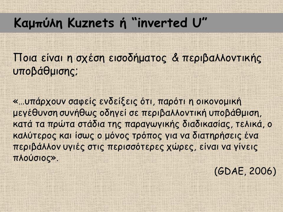 """Καμπύλη Kuznets ή """"inverted U"""" Ποια είναι η σχέση εισοδήματος & περιβαλλοντικής υποβάθμισης; «…υπάρχουν σαφείς ενδείξεις ότι, παρότι η οικονομική μεγέ"""