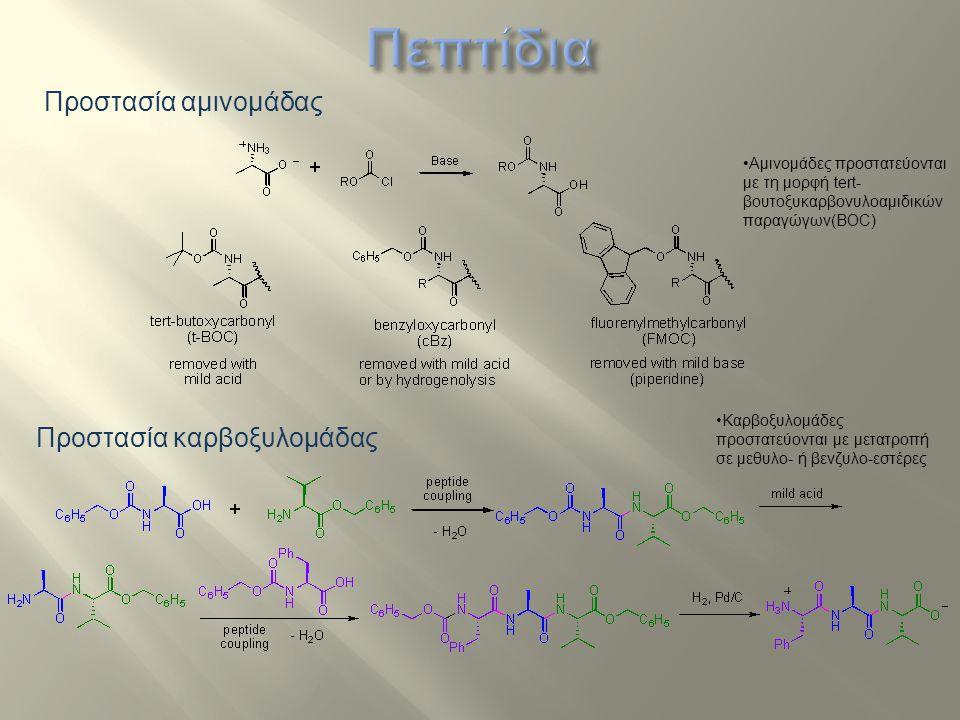 Προστασία αμινομάδας Προστασία καρβοξυλομάδας Αμινομάδες προστατεύονται με τη μορφή tert- βουτοξυκαρβονυλοαμιδικών παραγώγων(ΒΟC) Καρβοξυλομάδες προστ