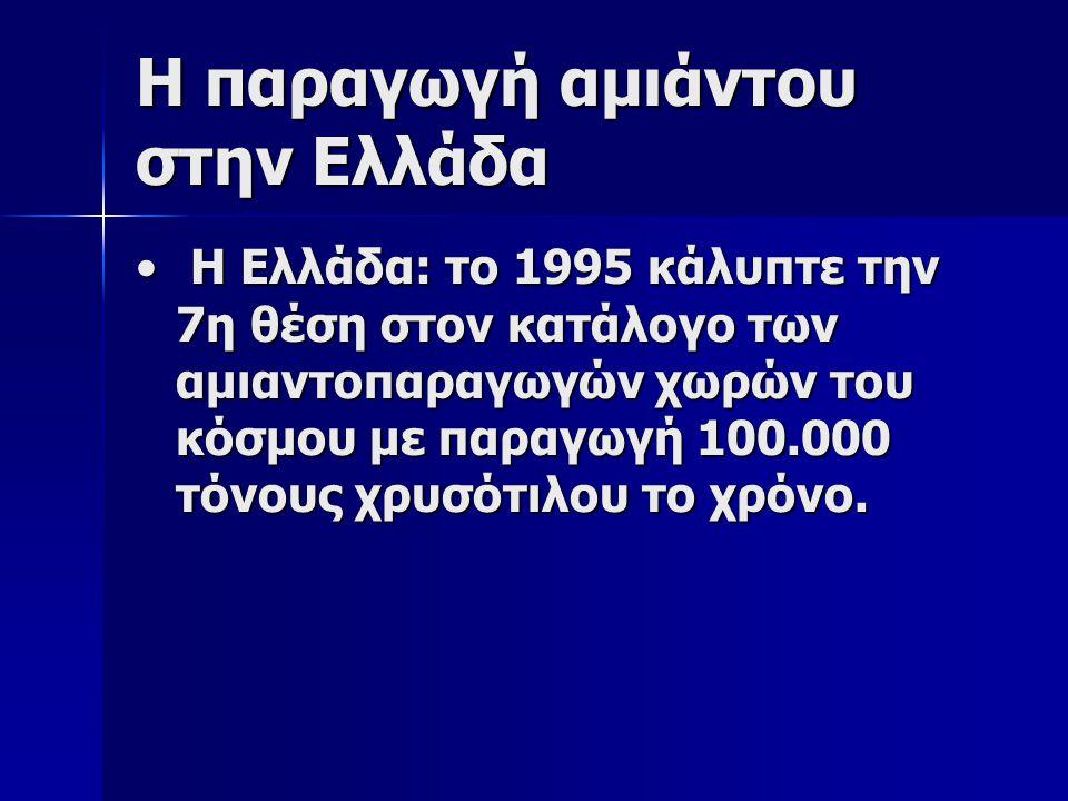 Η παραγωγή αμιάντου στην Ελλάδα Η Ελλάδα: το 1995 κάλυπτε την 7η θέση στον κατάλογο των αμιαντοπαραγωγών χωρών του κόσμου με παραγωγή 100.000 τόνους χρυσότιλου το χρόνο.