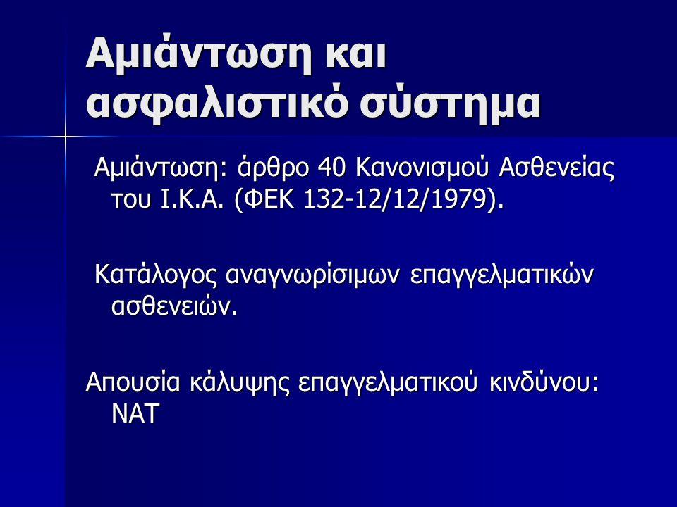 Αμιάντωση και ασφαλιστικό σύστημα Αμιάντωση: άρθρο 40 Κανονισμού Ασθενείας του Ι.Κ.Α.