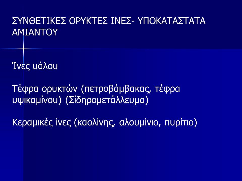 ΣΥΝΘΕΤΙΚΕΣ ΟΡΥΚΤΕΣ ΙΝΕΣ- ΥΠΟΚΑΤΑΣΤΑΤΑ ΑΜΙΑΝΤΟΥ Ίνες υάλου Τέφρα ορυκτών (πετροβάμβακας, τέφρα υψικαμίνου) (Σίδηρομετάλλευμα) Κεραμικές ίνες (καολίνης, αλουμίνιο, πυρίτιο)