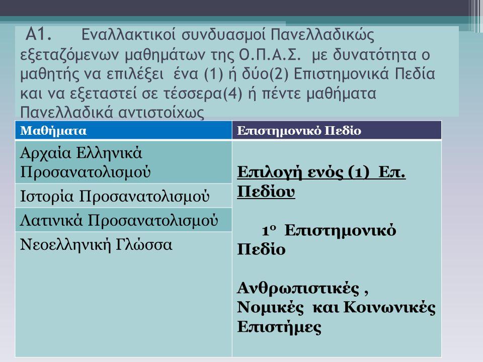 Α1. Εναλλακτικοί συνδυασμοί Πανελλαδικώς εξεταζόμενων μαθημάτων της Ο.Π.Α.Σ. με δυνατότητα ο μαθητής να επιλέξει ένα (1) ή δύο(2) Επιστημονικά Πεδία κ