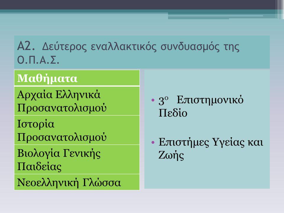 Α2. Δεύτερος εναλλακτικός συνδυασμός της Ο.Π.Α.Σ. Μαθήματα Αρχαία Ελληνικά Προσανατολισμού Ιστορία Προσανατολισμού Βιολογία Γενικής Παιδείας Νεοελληνι