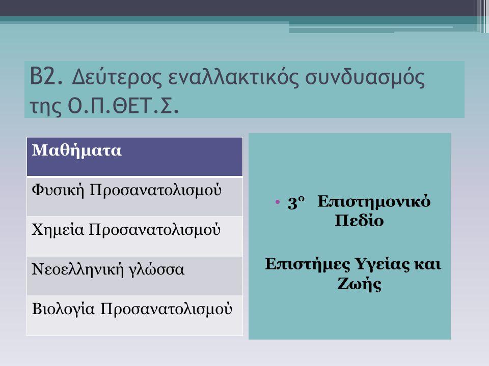 Β2. Δεύτερος εναλλακτικός συνδυασμός της Ο.Π.ΘΕΤ.Σ. Μαθήματα Φυσική Προσανατολισμού Χημεία Προσανατολισμού Νεοελληνική γλώσσα Βιολογία Προσανατολισμού